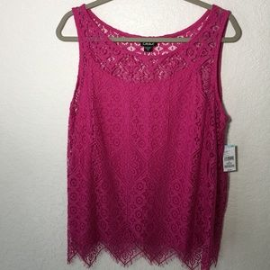 Simply Emma Pink Lace Tank top set 2 pieces New